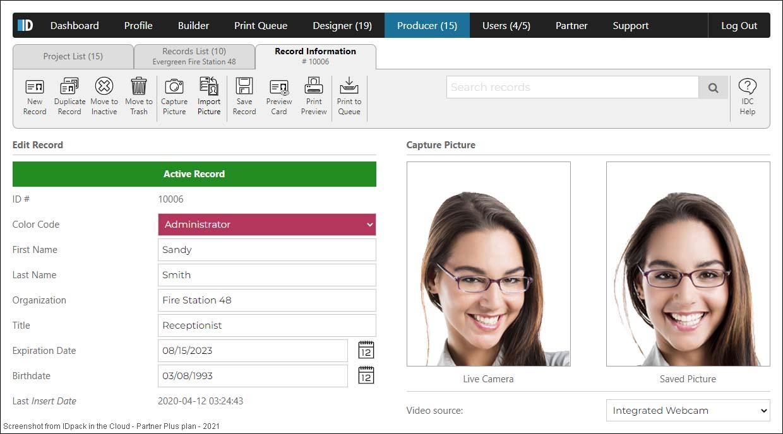 IDpack in the Cloud - Screenshot